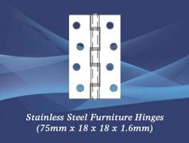 Stainless Steel Furniture Hinges (75mm x 18 x 18 x 1.6mm)